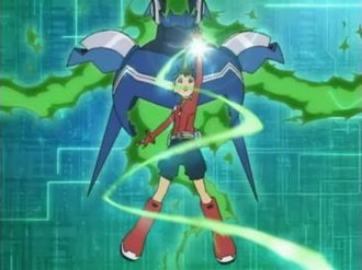 Mega Man Star Force (TV series) - Mega Man Star Forces Electromagnetic Wave Change sequences take after the Cross Fusion sequences of its predecessor. Depicted here is Geo at the beginning of his transformation.