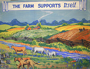 Historical Panorama of Alabama Agriculture - Another mural extolling the virtues of farm diversification, depicting livestock and row crops raised side by side.