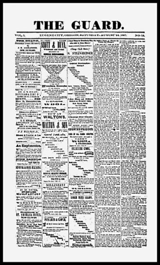 The Register-Guard - Front page of one of the earliest surviving examples of The Guard, published by John B. Alexander in August 1867