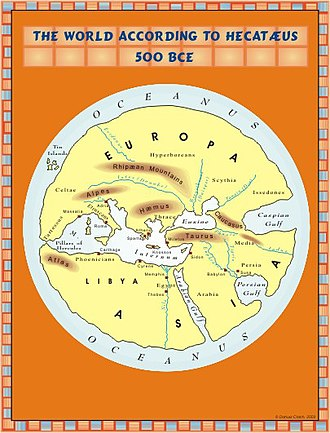 History of cartography - The world according to Hekatæus, 500 BC