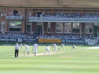 2013 Ashes series - England batsman Ian Bell scores a century at Lord's with a push to point.