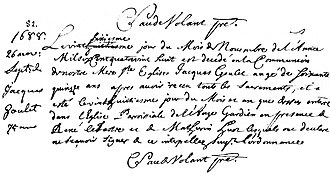 Jacques Goulet - Parish record of Jacques Goulet's death on November 26, 1688. Note his age is listed as 75 years, resulting in a discrepancy with his recorded date of birth.