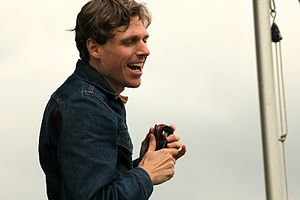 Joel Plaskett talking with fans at the 2011 Va...