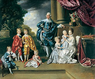 Princess Augusta Sophia of the United Kingdom - A portrait of King George III, Queen Charlotte, and their six eldest children in 1770. Augusta is the baby in her mother's arms.