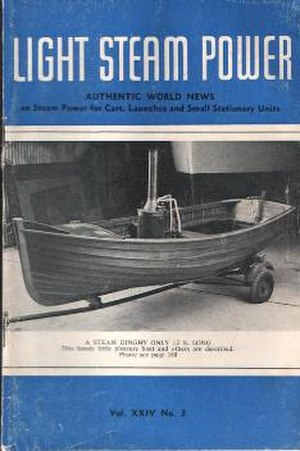 Light Steam Power -  alt=A magazine cover, showing a small steam launch