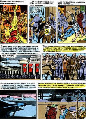"Impact (EC Comics) - Page four of ""Master Race,"" illustrated by Bernard Krigstein, which appeared in the first issue of Impact."