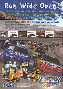 A poster featuring race cars on a track