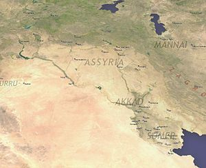 "Old Assyrian Empire - Map showing the approximate location of the geographical region or heartland referred to as ""Assyria"" in what is today referred to as the Middle East."