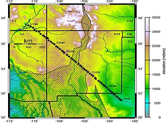 Rio Grande rift - Seismic profile from the Rio Grande Rift Seismic Transect (RISTRA) experiment crossing the rift system, with Cenozoic extended terrain of the rift and southern Great Basin tectonic provinces indicated.