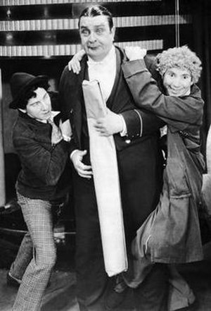 Robert Greig - Chico Marx, Greig, and Harpo Marx in his film debut, Animal Crackers (1930)