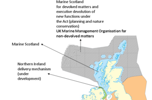 Seas west of Scotland - Map showing governance in UK part of seas west of Scotland. This map was originally produced by DEFRA in preparing for the UK Marine and Coastal Access Act