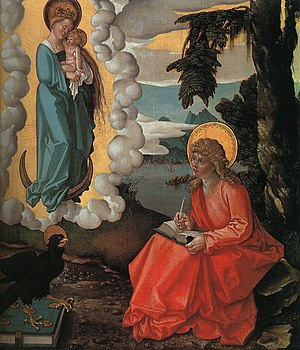 "Authorship of the Johannine works - ""Saint John on Patmos"" by Hans Baldung Grien, 1511"
