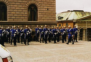 Royal Guards (Sweden) - Relieved guard after the changing of the guards ceremony at the Royal Palace. The clear blue uniform is used solely by the soldiers of the Cavalry Battalion.