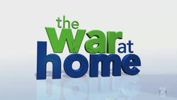 "The name of the show written all in lowercase with the word ""the"" at the top in green color, the words ""war at"" under it while the word ""war"" is in green color and the word ""at"" in blue color and the word ""home"" is under that in blue color."