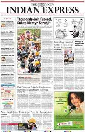 The New Indian Express - The April 2011 redesigned front page of The New Indian Express
