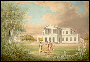 "Thomas Andrew Lumisden Strange - Watercolour ""Holy men outside Sir Thomas Strange house.""  In 1800, Strange became the first Chief Justice of the Supreme Court of Fort St. George (Madras), British India."