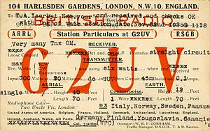 QSL card - A 1925 QSL card from Bill Corsham, G2UV.