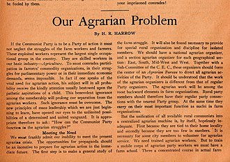 """Harold Ware - First section of """"H.R. Harrow's"""" agricultural recommendations to the underground Communist Party of America (November 1921)"""