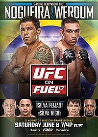 A poster or logo for UFC on Fuel TV: Nogueira vs. Werdum.