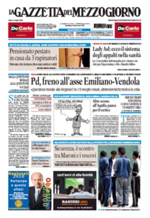 La Gazzetta del Mezzogiorno - Image: 20090704 lagazzettadelmezzogi orno frontpage