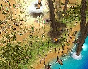 Age of Mythology - In this screenshot, an Egyptian town under attack by the Norse, defending itself using the meteor god power.