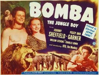 Bomba, the Jungle Boy - Johnny Sheffield and Peggy Ann Garner in Monogram Pictures 1949 film.