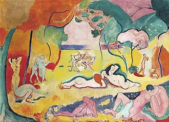 "Les Demoiselles d'Avignon - Henri Matisse, Le bonheur de vivre (1905–06), oil on canvas, 175 × 241 cm. Barnes Foundation, Merion, PA. A painting that was called Fauvist and brought Matisse both public derision and notoriety. Hilton Kramer wrote: ""owing to its long sequestration in the collection of the Barnes Foundation, which never permitted its reproduction in color, it is the least familiar of modern masterpieces. Yet this painting was Matisse's own response to the hostility his work had met with in the Salon d'Automne of 1905."""