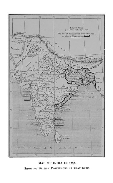 A map of the Indian subcontinent showing the British possessions in 1767