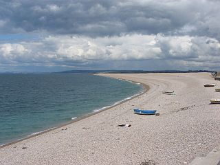 Chesil Cove cove and part of Chesil Beach in Dorset, England