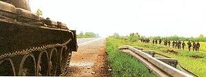 Operation Flash - The HV advancing along the Zagreb–Belgrade motorway towards Okučani.