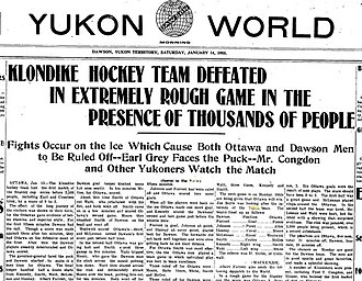 1904–05 Ottawa Hockey Club season - Yukon Newspaper report after first game