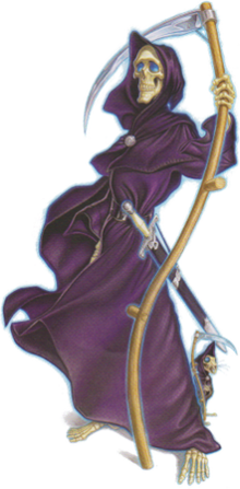 A skeletal figure, wearing dark purple robes, with a scabbard at his waist and holding a scythe. At his feat a skeletal rat, also hooded in a purple robe.