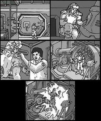 Doom 3 - Much of Doom 3, such as this section in the Delta Labs, was planned using storyboards