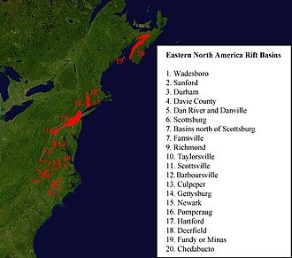 Eastern North America Rift Basins - The exposed rift basins of eastern North America.