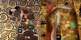 Elfen Lied - The introduction scenes of the Elfen Lied anime are a reference to Gustav Klimt's artwork such as ''The Kiss''.