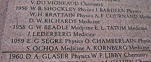 One gene–one enzyme hypothesis - Mention of Beadle and Tatum's 1958 prize on the monument at the American Museum of Natural History in New York City.