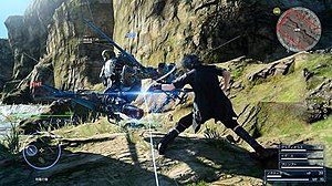 Final Fantasy XV - The Active Cross Battle system in action: Noctis attacks a hostile soldier in one of the game's open environments.
