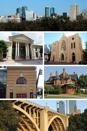 Top to bottom, left to right: Fort Worth skyline, Fort Worth Public Library, St. Patrick Cathedral, Fort Worth Fire Station No. 1, Eddleman–McFarland House, Paddock Viaduct