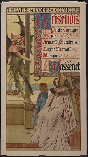 Grisélidis - Poster by Flameng for the premiere, depicting the Devil, Loÿs and Grisélidis