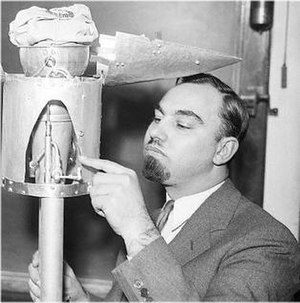 George Edward Pendray - G.E. Pendray with rocket fueling device