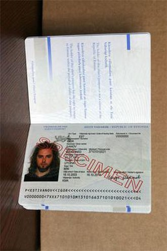 Estonian alien's passport - Identity page of the Estonian alien's passport