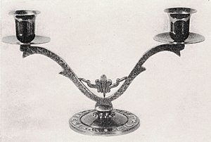 Hebrew calendar - A bronze Shabbat candlestick holder made in British Mandate Palestine in the 1940s.