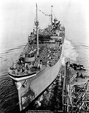 USNS Mission Solano (T-AO-135) - SS Mission Solano launching at Marine Ship Corporation, Sausalito, California on 14 January 1944