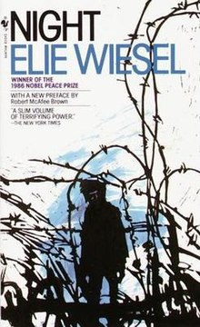 "A white background with patches of blue. In the foreground, a figure in black, no features visible; around him, barbed wire. Above the figure are the words ""Night,"" Elie Wiesel, winner of the 1986 Nobel Peace Prize, with a new preface by Robert McAfee Brown, and ""A slim volume of terrifying power,"" The New York Times."