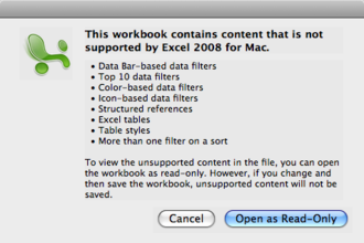 Microsoft Office 2008 for Mac - Error message in Microsoft Excel showing features that are not supported