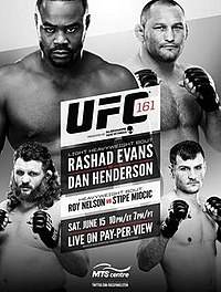 A poster or logo for UFC 161: Evans vs. Henderson.