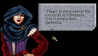 Quest for Glory: Shadows of Darkness - Talking with Katrina. Typical gameplay for Quest for Glory IV.