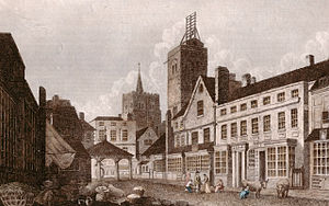 St Albans - St. Albans High Street in 1807, showing the shutter telegraph on top of the city's Clock Tower