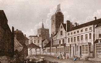 St Albans - St Albans High Street in 1807, showing the shutter telegraph on top of the city's Clock Tower