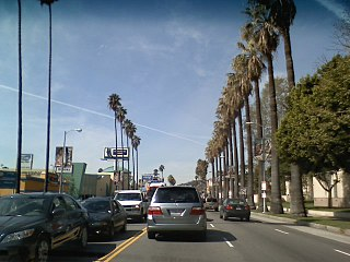 Sunset Boulevard thoroughfare in Beverly Hills, West Hollywood and Los Angeles, United States